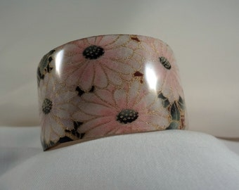Pink Floral Wide Cuff Bracelet(CCB172)