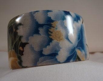 SALE BRACELET-Blue Peony Wide Cuff Bracelet(CCB187)