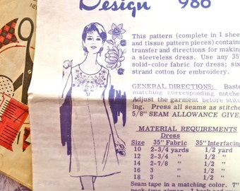 Vintage 1960s Womens Shift Dress Pattern with Embroidery Transfer - Laura Wheeler 986