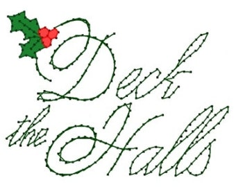 Deck the Halls Song Christmas  Embroidery Pattern for Greeting Cards