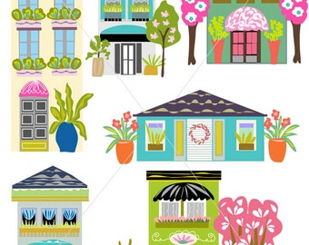 Digital Houses Clip Art Instant Download ~ Cute  Whimsical ~ Boutiques ~ Hand Drawn ~ Karen Fields ~ Scrapbook ~ Illustrations ~
