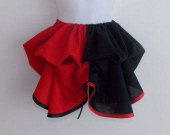 Half Price Sale - Harley Quinn Add a Bustle Skirt by LoriAnn Costume Designs  - black and red - Ready To Mail