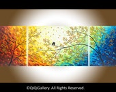 """Large art 72"""" original Romantic love birds art home decor wall hangings wall art landscape Painting"""" Over the Rainbow"""" by qiqigallery"""