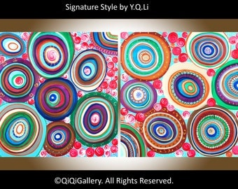 "Art painting acrylic Abstract Painting Original Large Art Multicolored Impasto canvas wall art ""Traveling through Colors"" by QIQIGallery"