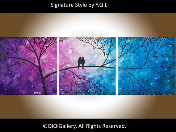 """Original  Abstract Landscape Tree Branches Love Birds wall hanging Office Wall Decor """"Night in the Forest""""by qiqigallery"""
