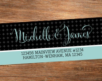 Return Address Label Stickers - Patterned Script - Choose your own colors