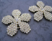 Clear rhinestone flower on gold shoe clips