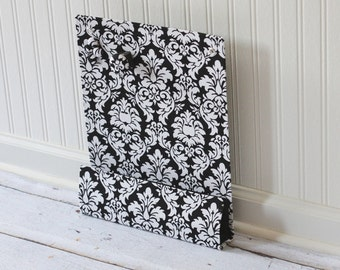 Message Center Magnet Board with Pencil Holder - Black and White Dandy Damask- Ready to ship