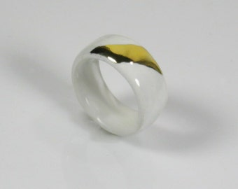 Porcelain, glazed white with gold accent, statement, porcelain jewelry, gift