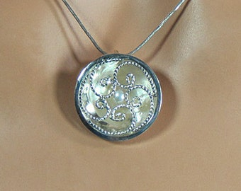 Sterling silver filigree pendant with freshwater pearl, gift