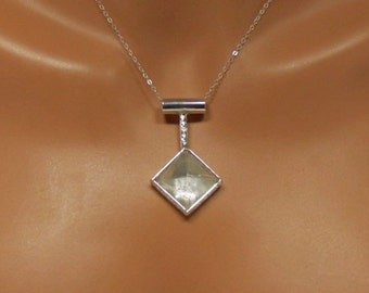 Sterling silver and quartz crystal pyramid pendant, statement, gift