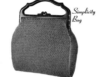 "Vintage Crochet Pattern 1930's Gimp Purse Pattern ""The Simplicity"" -INSTANT DOWNLOAD-"