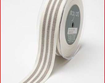 CLEARANCE - 1 1/2 Inch Woven Striped Ribbon - Ivory - Brown
