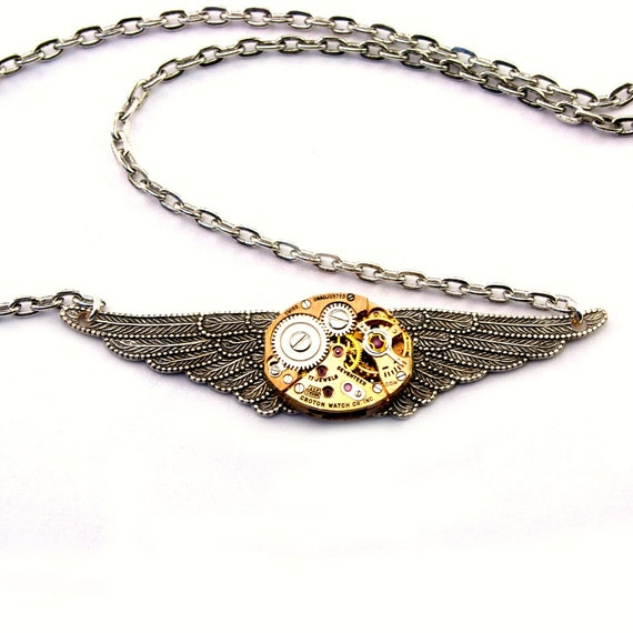 Winged Clockwork Copper Silver toned Steampunk Necklace Watch Movement Pendant Gothic Angel Wings Steam Punk by London Particulars