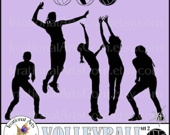 Volleyball Female Silhouettes set 2 - 8 EPS and SVG VINYL-Ready files and 8 png graphics & small commercial license {Instant Download}