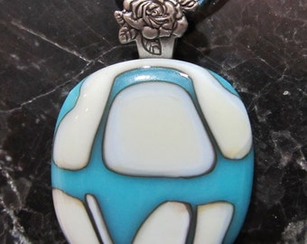 Fused Glass Pendant with Ribbon necklace: Rosey Reaction SALE