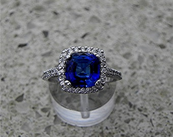 AAAA Manmade Blue Sapphire Cushion cut   8x8mm  2.45 Carats   in 14K white gold Halo engagement ring with .30 carats of diamonds H88