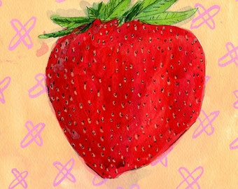 Strawberry, drawing on paper