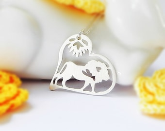 Lion Necklace, Heart, Sterling Silver