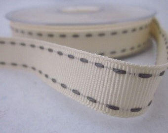3 metres Ivory and Grey Stitched Grosgrain Ribbon
