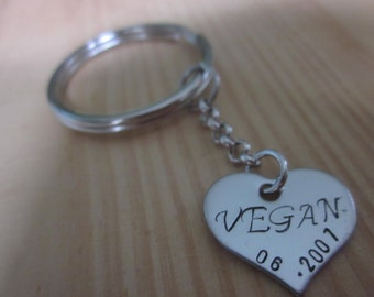 Vegan Heart Key chain stainless steel heart Personalized Hand stamped add a date to show your vegan pride