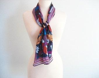 Vintage ANNE KLEIN Silk Scarf with Butterfly Design