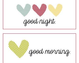 Good Night, Good Morning Heart Label