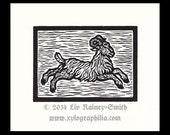 Aries Zodiac woodcut print hand pulled print 5 x 6