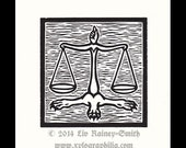 Libra Zodiac astrological woodcut print hand pulled print 6 x 6