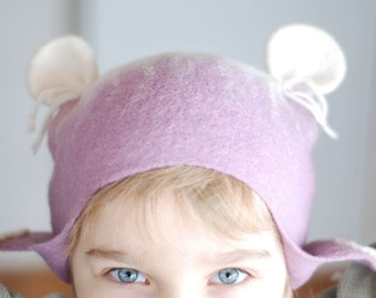 Felted wool hat MOUSE in white&purple, head 49-51cm