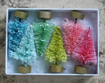Pastel Gumdrop Vintage Style Bottle Brush Trees - Pastel Trees Gumdrop Selection - Easter Decoration Trees - Miniature Display - 6 Trees