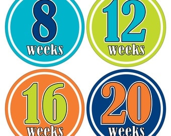 12 Weekly Pregnancy Mama-to-be Maternity Waterproof Glossy Stickers  - Monthly stickers available - Design W009-04