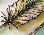 Finnegan's Feather - Atc Aceo  - Original H2O and ink Painting