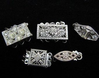 5 Silver Toned Filigree and Rhinestone Clasps