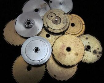 12 Antique Vintage Clock Watch Parts Cogs Gears Assemblage Steampunk Industrial Art Goodies CG 34