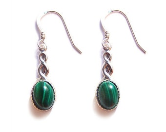 Malachite Sterling silver Celtic earrings - emerald green banded Malachite