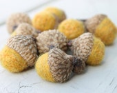 Wool Felted Acorns Golden Yellow Country Rustic Home Decor