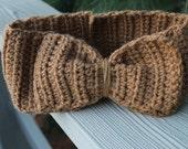 Head Warmer Crochet Earmuff Headband Café au lait Tan Color with Bow