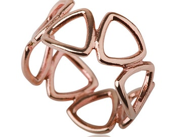 3D Ring , 14 Karat Rose Gold Triangles Ring, Modern Triangles woman red gold ring