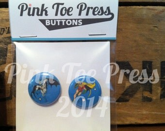 Retro Batman Pinback Button Pack of 2