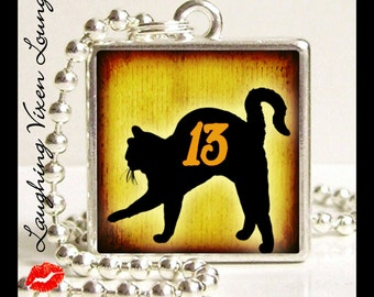 Black Cat Jewelry - Black Cat Necklace - Black Cat Pendant - Photo Necklace - Friday The 13 Black Cat Photo Pendant - Superstition