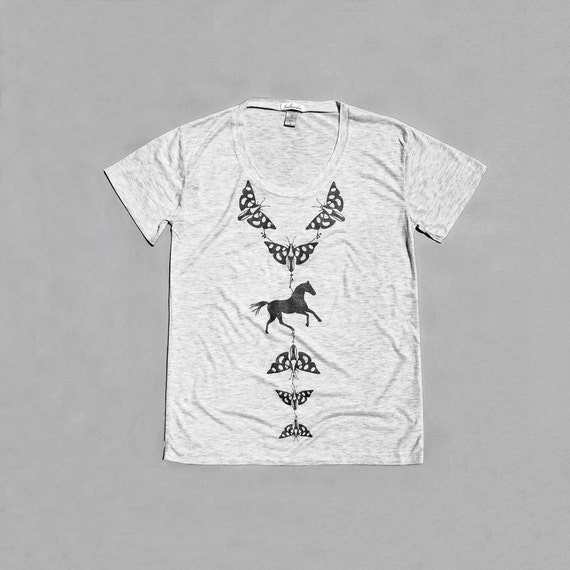 Tshirt for Women, Womens Slouchy T Shirt, Insect shirt - Moth, Butterfly, Horse Graphic Tee, Heather Gray Scoop Neck Shirt - Loose Fit