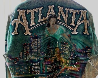 SaLe! ATLANTA Scarlet O Hara 1988 Tony Alamo DESIGNER Rhinestone Studded Denim JACKET  Absinthe Green