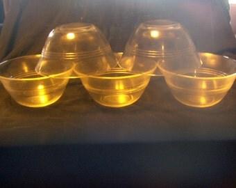 Pyrex Custard Bowls Set of Five 445 Three Ring and Bonus Glasbake Bowl