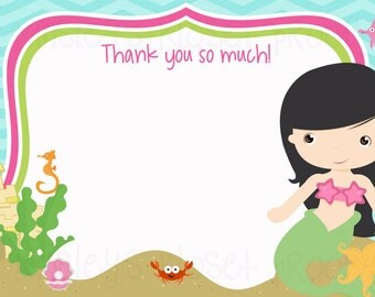 Mermaid thank you cards Printable Party Thank You cards - Mermaid Party Thank You cards - DIY Party printables