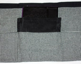 Teacher Apron Half Waist Vendor Craft Black White Houndstooth Fabric (4 Pockets)