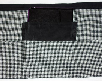Teacher Apron Half Waist Vendor Craft Black White Houndstooth Fabric (4 Pockets)