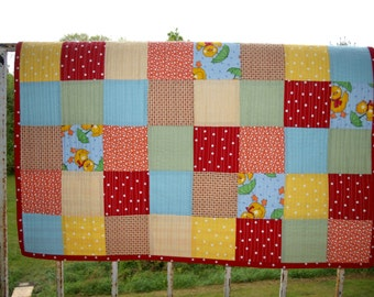 Patchwork Quilt for Baby -- Polka Dots and Duck Fabrics