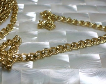 1 Foot Double Link Chain, Matte Gold Chain, Satin Gold, Nickel Free Chain, Brass chain, Jewelry Supplies, Jewellery Supplies