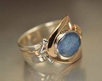 opal Sterling Silver/bronze ring.... handmade by Rasa L. Size: 6.5